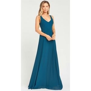 Show Me Your MuMu Chiffon Deep Jade Maxi Dress S